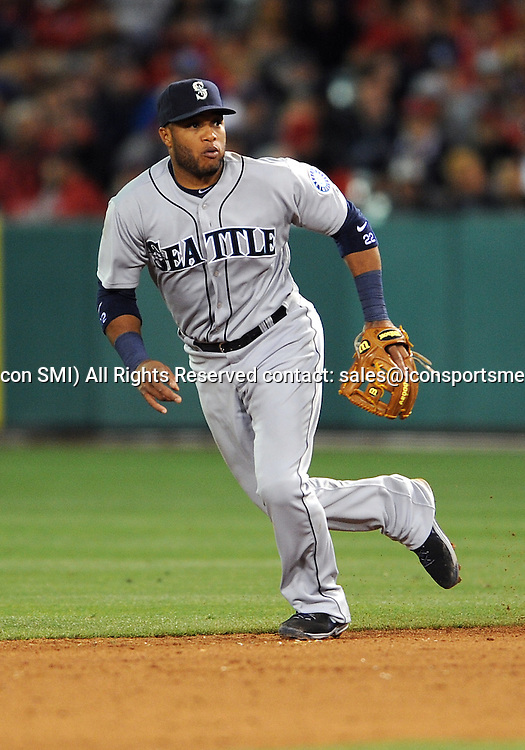 31 Mar. 2014: Seattle Mariners second baseman (22) Robinson Cano in action during an opening day game against the Los Angeles Angels of Anaheim played at Angel Stadium of Anaheim.
