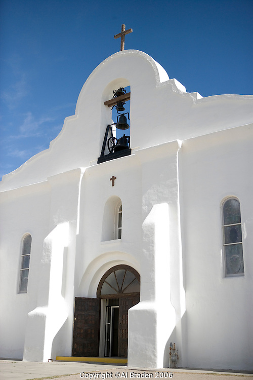 San Elizario Chapel on the Mission Trail near El Paso, Texas. The church uses the original name of San Elecario Catholic Church.