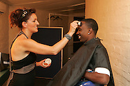 Dwayne Bravo having his make up applied during the CLT20 live broadcast party held at the Supersport Studios in Johannesburg on the 8 September held as part of the build up to the Champions League T20 tournament being held in South Africa between the 10th and 26th September 2010..Photo by: Ron Gaunt/SPORTZPICS/CLT20