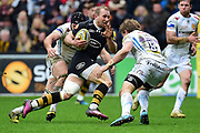 Wasps scrum-half Dan Robson  runs at the Exeter defence during the Aviva Premiership match between Wasps and Exeter Chiefs at the Ricoh Arena, Coventry, England on 18 February 2018. Picture by Dennis Goodwin.