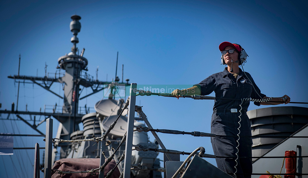 BLACK SEA (Aug. 20, 2018) Seaman Samantha Braband stands aft lookout watch aboard the Arleigh Burke-class guided-missile destroyer USS Carney (DDG 64), Aug. 20, 2018. Carney, forward-deployed to Rota, Spain, is on its fifth patrol in the U.S. 6th Fleet area of operations in support of regional allies and partners as well as U.S. national security interests in Europe and Africa. (U.S. Navy photo by Mass Communication Specialist 1st Class Ryan U. Kledzik/Released) 180820-N-UY653-249
