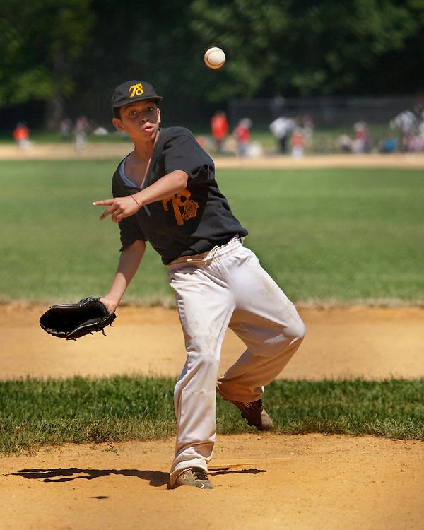 Local baseball game in Prospect Park, Brooklyn. 2009