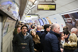 © Licensed to London News Pictures. 22/02/2020. London, UK. Overcrowding at Victoria Station Underground Station as Circle and District lines are closed due to planned engineering works. Due to Bakerloo Line Strike this will cause extra disruption to the travel on the weekend. Photo credit: Dinendra Haria/LNP  Photo credit: Dinendra Haria/LNP