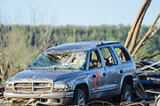 April 28, 2014 - Vilonia, Arkansas, U.S. -<br /> <br /> Killer Tornadoes Rip Through Arkansas And Oklahoma<br /> <br /> A destroyed car amid the tornado damage in the small town of Vilonia in central Arkansas' Faulkner county Monday morning after a tornado tore an 80-mile path from Ferndale to El Paso Arkansas Sunday night. Tornado season has gotten off to a deadly start as tornadoes ripped through south-central United States on Monday leaving whole neighbourhoods destroyed and at least 17 people killed in Arkansas. It's the year's worst tornado outbreak so far, with meteorologists listing 31 tornado reports on Sunday alone. <br /> ©Exclusivepix