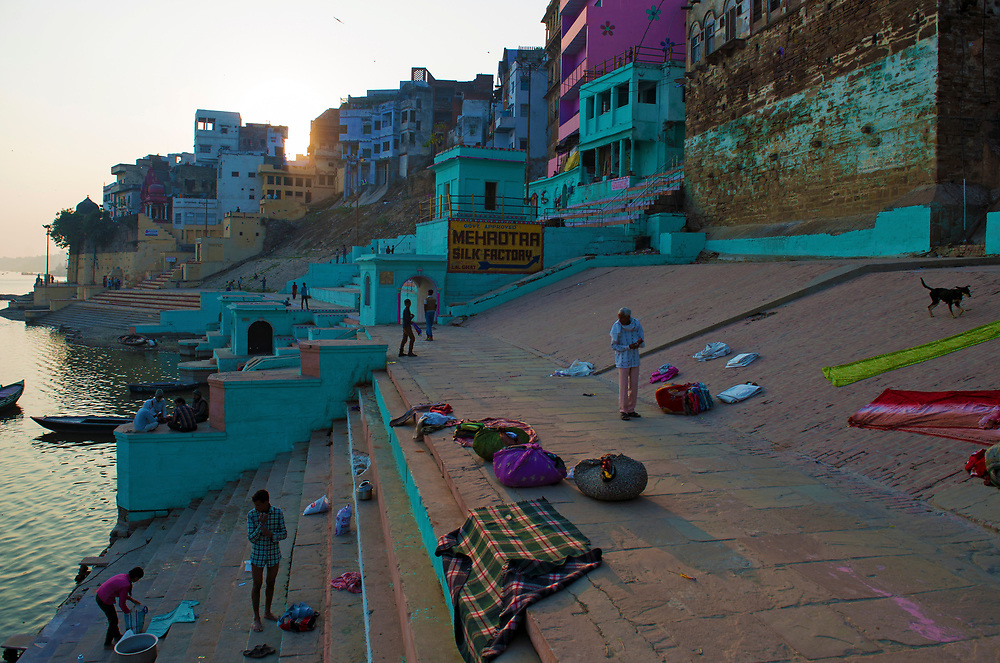 Ghats of Varanasi along the banks of the River Ganges.
