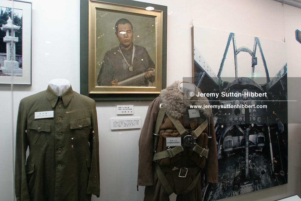 KAMIKAZE PILOT UNIFORMS, on display at the Special Attack Peace Memorial Museum, in Chiran, Kyushu Island, Southern Japan. Chiran was the airbase from where kamikaze pilots took off on their final missions.