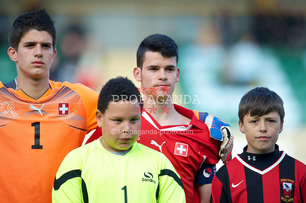 BARRY, WALES - Tuesday, April 30, 2013: Switzerland's Ruben Livio Kotlar lines-up to face Wales during the Under-15's International Friendly match at Jenner Park. (Pic by David Rawcliffe/Propaganda)