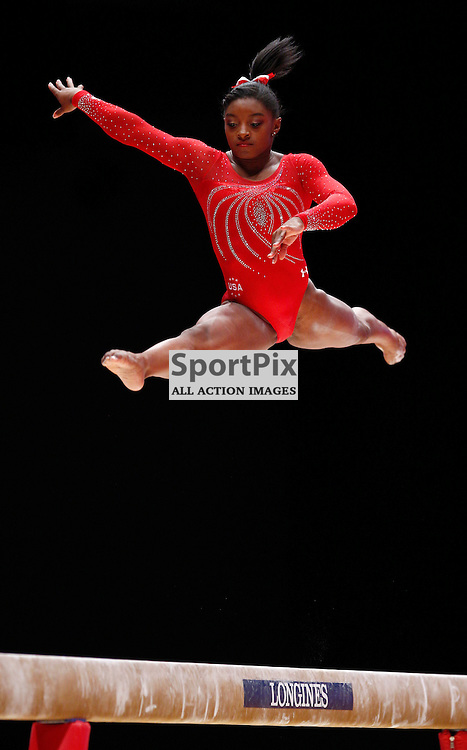 2015 Artistic Gymnastics World Championships being held in Glasgow from 23rd October to 1st November 2015...Simone Biles (USA) competing in the Balance Beam competition of the Women's Team Final...(c) STEPHEN LAWSON | SportPix.org.uk