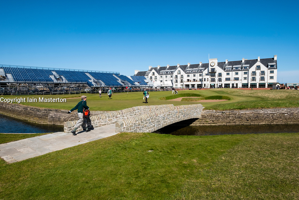 View of Carnoustie Golf Course Hotel behind 18th Green with Barry Burn and bridge  in foreground at Carnoustie Golf Links in Carnoustie, Angus, Scotland, UK. Carnoustie is venue for the 147th Open Championship in 2018. Stand around green under construction.