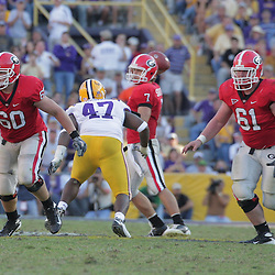 25 October 2008: Clint Boling (60) and Ben Jones (61) of Georgia in action during the Georgia Bulldogs 52-38 victory over the LSU Tigers at Tiger Stadium in Baton Rouge, LA.