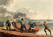 Hauling a clinker-built rowing boat on shore. Aquatint, London, 1821.