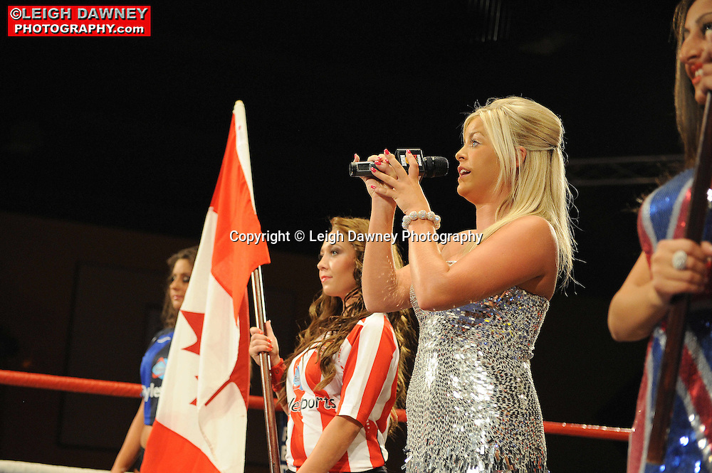 Ring Girls for IBF Super Bantamweight title at Rainton Meadows Arena, Sunderland, 11th September 2010. Frank Maloney Promotions. © Photo credit: Leigh Dawney
