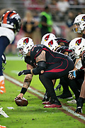 Arizona Cardinals center Mason Cole (64) gets set to snap the ball as the Cardinals offensive line lines up opposite the Denver Broncos defensive line during the NFL week 7 regular season football game against the Denver Broncos on Thursday, Oct. 18, 2018 in Glendale, Ariz. The Broncos won the game 45-10. (©Paul Anthony Spinelli)