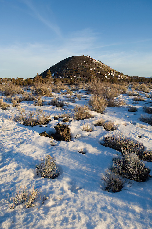 Schonchin Butte, a volcanic ash cinder cone; Lava Beds National Monument, California.