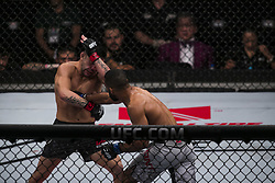 October 29, 2017 - Sao Paulo, Sao Paulo, Brazil - Oct, 2017 - Sao Paulo, Sao Paulo, Brazil - Fight between PEDRO MUNHOZ (The Young Punisher) and ROB FONT(front) during UFC Fight Night, at the Ibirapuera Gymnasium, in São Paulo, on Saturday (28). MUNHOZ (in black) won. (Credit Image: © Marcelo Chello via ZUMA Wire)