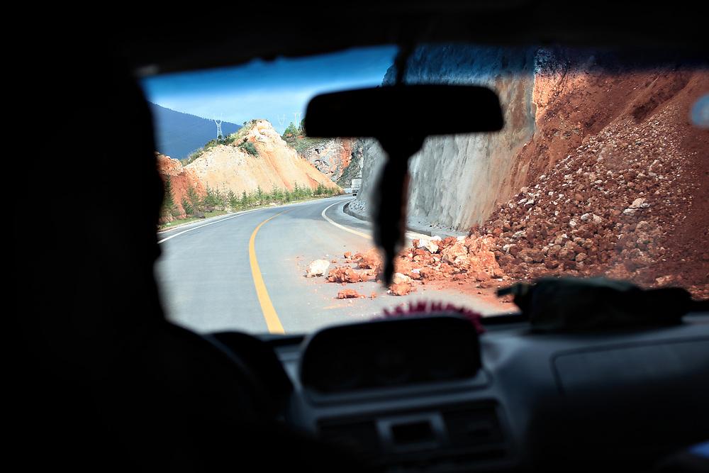 Rockslide on Highway 214 north of Shangri-la, Yunnan, China; September, 2013.