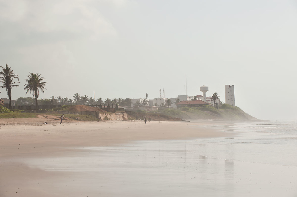 View of the Osu caslte from the beach in front of Independence Square, Accra, Ghana 2011
