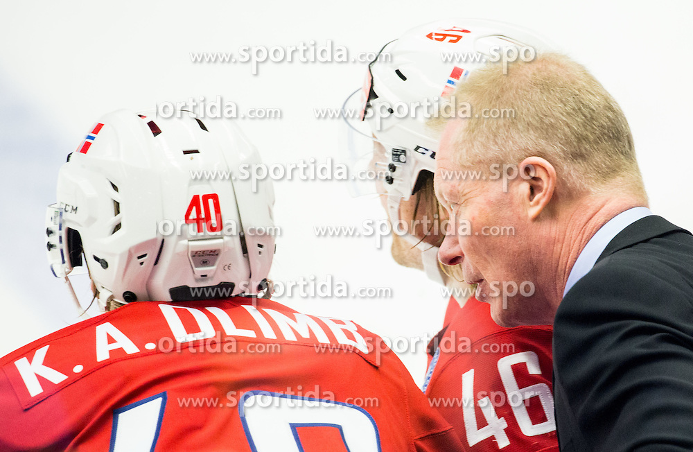 Ken Andre Olimb of Norway, Mathis Olimb of Norway and Roy Johansen, head coach of Norway during Ice Hockey match between Russia and Norway at Day 1 in Group B of 2015 IIHF World Championship, on May 1, 2015 in CEZ Arena, Ostrava, Czech Republic. Photo by Vid Ponikvar / Sportida