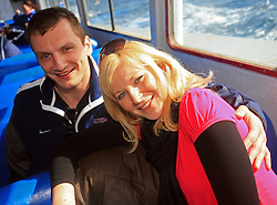 Miha Rebolj and Veronika Potocnik, girlfriend of Marcel Rodman at whale watching boat, during IIHF WC 2008 in Halifax,  on May 07, 2008, sea at Halifax, Nova Scotia, Canada. (Photo by Vid Ponikvar / Sportal Images)