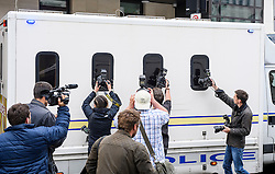 © Licensed to London News Pictures. 18/06/2016. London, UK. Media surround a police escorted prison van carrying THOMAS MAIR, as it leaves Westminster Magistrates Court in London where he faced charges in connection with the shooting and stabbing of Labour MP Jo Cox. Photo credit: Ben Cawthra/LNP
