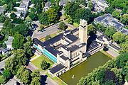 Nederland, Noord-Holland, Hilversum, 29-06-2018; Raadhuis Hilversum in het Dudokpark, genoemd naar de architect van het gebouw, Willem Dudok van Heel.<br /> City Hall Hilversum.<br /> <br /> aerial photo (additional fee required);<br /> copyright foto/photo Siebe Swart