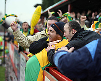 Photo: Rich Eaton.<br /> <br /> Tamworth FC v Norwich City. The FA Cup. 06/01/2007. Darren Huckerby is embraced by travelling fans after scoring the second goal in the first half for Norwich