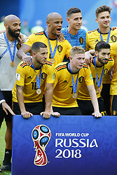 July 14, 2018 - Saint Petersbourg, Russie - SAINT PETERSBURG, RUSSIA - JULY 14 : Thierry Henry ass. coach of Belgian Team and Vincent Kompany defender of Belgium and Eden Hazard midfielder of Belgium and Kevin De Bruyne forward of Belgium and Koen Casteels  goalkeeper of Belgium and Yannick Carrasco forward of Belgium and Leander Dendoncker midfielder of Belgium celebrates during the FIFA 2018 World Cup Russia Play-off for third place match between Belgium and England at the Saint Petersburg Stadium on July 14, 2018 in Saint Petersburg, Russia, 14072018 ( Photo by Jimmy Bolcina  Photonews. (Credit Image: © Panoramic via ZUMA Press)