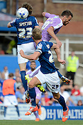 Orlando Sá, Jonathan Spector, Michael Morrison in action during the Sky Bet Championship match between Birmingham City and Reading at St Andrews, Birmingham, England on 8 August 2015. Photo by Alan Franklin.