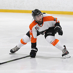 BURLINGTON, ON - SEP 9:  Daniel Barnes #2 of the Orangeville Flyers backchecks on the play in the first period, during the OJHL regular season game between the Orangeville Flyers and the Burlington Cougars. Orangeville Flyers and Burlington Cougars  on September 9, 2016 in Burlington, Ontario. (Photo by Tim Bates / OJHL Images)