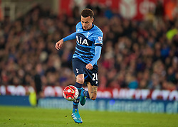 STOKE-ON-TRENT, ENGLAND - Monday, April 18, 2016: Tottenham Hotspur's Dele Alli controls the ball on his way to scoring the second goal against Stoke City during the FA Premier League match at the Britannia Stadium. (Pic by David Rawcliffe/Propaganda)