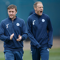 St Johnstone Training....23.10.15<br /> Tam Scobbie and a tired Steven Anderson pictured in training this morning at McDiarmid Park before tomorrow's game against Inverness<br /> Picture by Graeme Hart.<br /> Copyright Perthshire Picture Agency<br /> Tel: 01738 623350  Mobile: 07990 594431