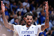 LEXINGTON, KY - DECEMBER 5: Willie Cauley-Stein #15 of the Kentucky Wildcats celebrates during the game against the Texas Longhorns at Rupp Arena on December 5, 2014 in Lexington, Kentucky. The Wildcats defeated the Longhorns 63-51. (Photo by Joe Robbins)