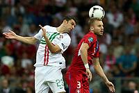 Fotball , 21. juni 2012 , Euro , kvartfinale , Tsjekkia - Portugal<br /> Postiga (POR) und Michal Kadlec (CZE).<br /> Norway only