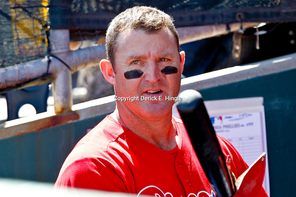 March 05, 2011; Clearwater, FL, USA; Philadelphia Phillies first baseman Jim Thome (25) during a spring training game against the New York Yankees at Bright House Networks Field. Mandatory Credit: Derick E. Hingle-US PRESSWIRE