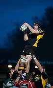 Wycombe, GREAT BRITAIN, Wasps' George SKIVINGTON collect the line out ball, during the Guinness Premiership rugby game, London Wasps vs Leicester Tigers at Adam's Park Stadium, Bucks, England, on Sun 15.02.2009. [Photo, Peter Spurrier/Intersport-images]