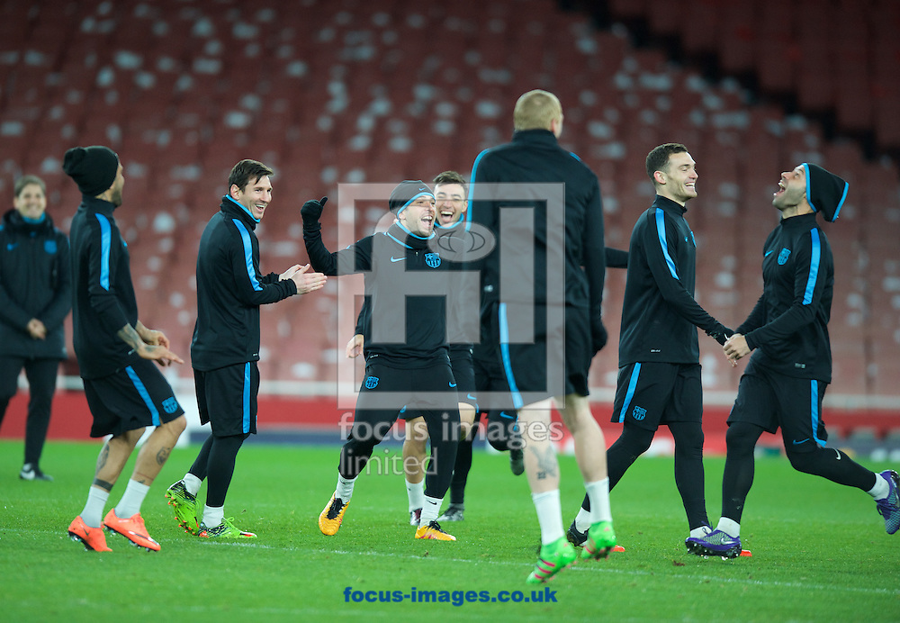 Barcelona players during the Barcelona training session at the Emirates Stadium, prior to their Champions League match against Arsenal tomorrow. London, England.<br /> Picture by Alan Stanford/Focus Images Ltd +44 7915 056117<br /> 22/02/2016