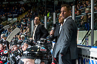KELOWNA, CANADA - OCTOBER 26: Kelowna Rockets' head coach Jason Smith, stands on the bench against the Victoria Royals on October 26, 2016 at Prospera Place in Kelowna, British Columbia, Canada.  (Photo by Marissa Baecker/Shoot the Breeze)  *** Local Caption ***
