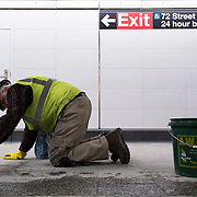 December 12, 2016 - New York, NY :  Finishing touches are taken care of underground, in the 72nd Street Second Avenue subway station on Monday morning as, after years of delays, the new subway line is preparing to welcome its first straphangers. CREDIT: Karsten Moran for The New York Times