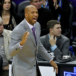 December 28, 2011; New Orleans, LA, USA; New Orleans Hornets head coach Monty Williams against the Boston Celtics during the second quarter of a game at the New Orleans Arena. The Hornets defeated the Celtics 97-78.    Mandatory Credit: Derick E. Hingle-US PRESSWIRE