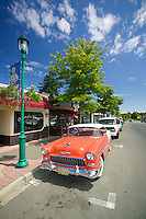 Gary's Bistro in downtown Qualicum Beach and the trademark 1955 Chevrolet Bel Air that is often parked outside the restaurant.  Qualicum Beach, Vancouver Island, British Columbia, Canada.