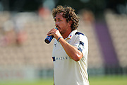 Ryan Sidebottom of Yorkshire takes the drink after taking the wicket of Sean Ervine of Hampshire during the Specsavers County Champ Div 1 match between Hampshire County Cricket Club and Yorkshire County Cricket Club at the Ageas Bowl, Southampton, United Kingdom on 1 September 2016. Photo by Graham Hunt.