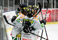 Players of Lustenau celebrate during Ice Hockey match between HK SZ Olimpija and EHC Alge Elastic Lustenau in Semifinal of Alps Hockey League 2018/19, on April 5, 2019, in Arena Tivoli, Ljubljana, Slovenia. Olimpija win the game and qualify to Final of AHL. Photo by Matic Klansek Velej / Sportida