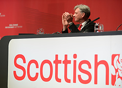 Pictured: Scottish Labour leader Richard Leonard on stage applauds the delegates.<br /> <br /> The Scottish Labour Party spring conference opened in Dundee on Friday, where Scottish Labour leader Richard Leonard joined delegates and party activists.<br /> <br /> <br /> © Dave Johnston / EEm