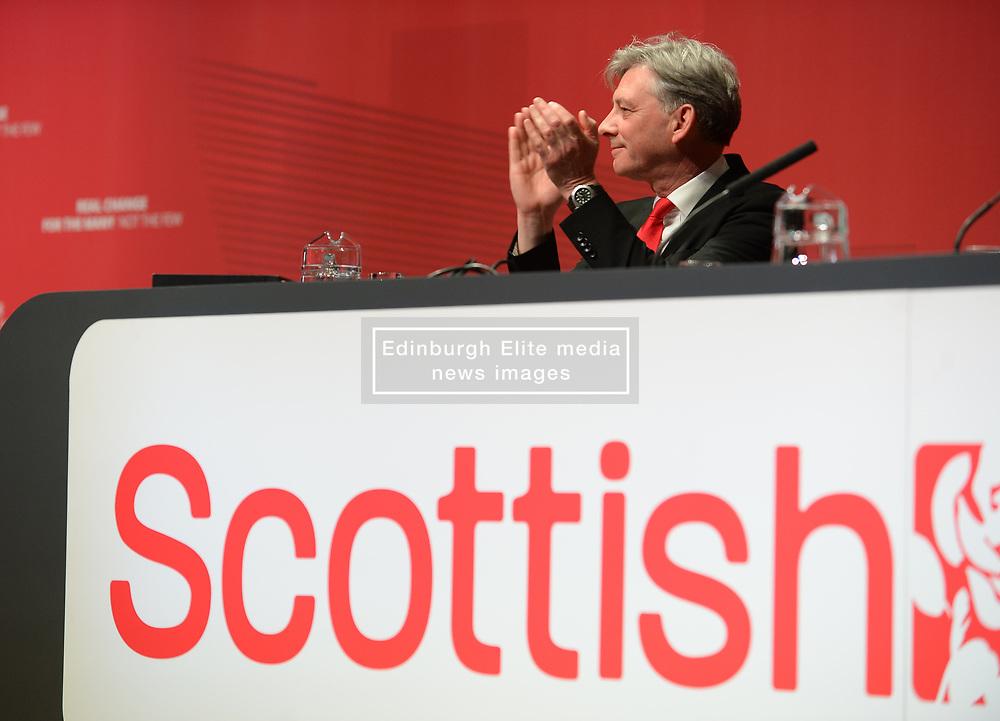 Pictured: Scottish Labour leader Richard Leonard on stage applauds the delegates.<br /> <br /> The Scottish Labour Party spring conference opened in Dundee on Friday, where Scottish Labour leader Richard Leonard joined delegates and party activists.<br /> <br /> <br /> © Dave Johnston / EEm