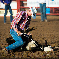 Jerry Koile competes at the National Senior Pro Rodeo Association in Grants on Wednesday.