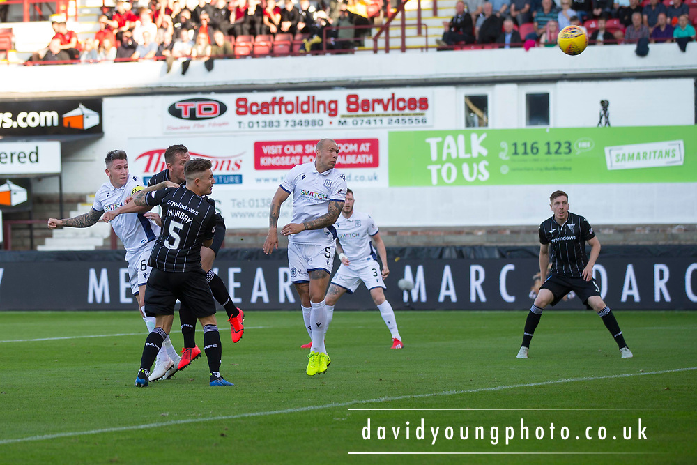 2nd Aug 2019, East End Park, Dunfermline, Fife, Scotland, Scottish Championship football, Dunfermline Athletic versus Dundee;  Josh Meekings of Dundee comes close to scoring with this header which was saved by Ryan Scully of Dunfermline Athletic
