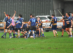 Rice College take an early lead with Tom Geraghty scoring a push over try...Pic Conor McKeown