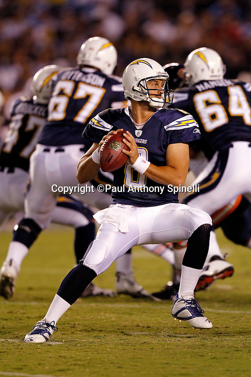 San Diego Chargers rookie quarterback Jonathan Crompton (8) drops back and unloads a pass during a NFL week 1 preseason football game against the Chicago Bears, Saturday, August 14, 2010 in San Diego, California. The Chargers won the game 25-10. (©Paul Anthony Spinelli)