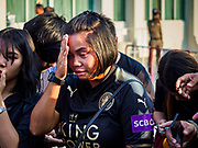 03 NOVEMBER 2018 - BANGKOK, THAILAND: ORNITHOPTER SRITAWAN, who said she knew Vichai Srivaddhanaprabha, weeps on the first day of funeral rites for Vichai at Wat Debsirin in Bangkok. She said she used to play tennis with Vichai. Vichai was the owner of King Power, a Thai duty free conglomerate, and the Leicester City Club, a British Premier League football (soccer) team. He died in a helicopter crash in the parking lot of the King Power stadium in Leicester after a match on October 27. Vichai was Thailand's 5th richest man. The funeral is expected to last one week.    PHOTO BY JACK KURTZ