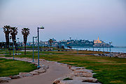 Charles Clore Park between Tel Aviv and Jaffa. Old city of Jaffa and ancient port in the background